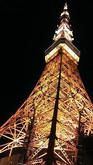 Tokyo Tower, Night View, Black, Orange