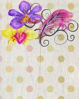 Polka Dot, Scrapbook, Watercolor, Background, Page