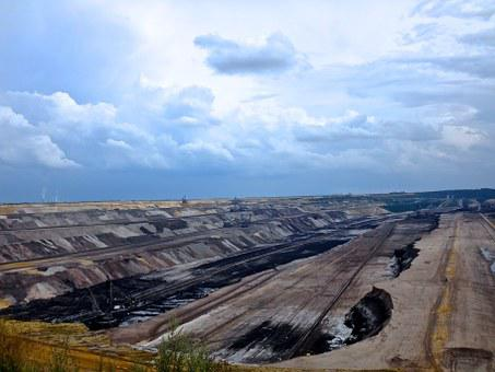 Open Pit Mining, Garzweiler, Brown Coal, Rain Clouds