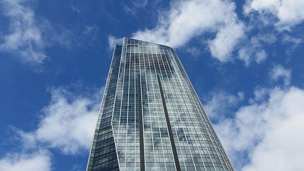 Skyscraper, Reflection, Tokyo, Japan, Clouds, Blue, Sky