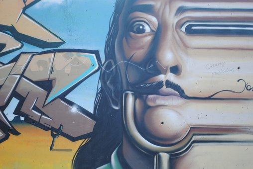 Salvador Dali Graffiti, Wall Art, Colourful Art