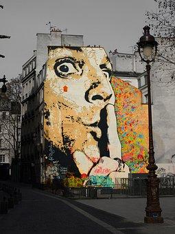 Salvador Dalí, Graffiti, Wall, Art, Portrait, Paris