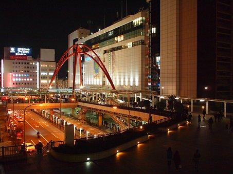 Tokyo, Tachikawa, Tachikawa Station, Night
