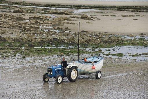 Tractor, Boot, Ship, Trailers, Sea, Fish, Water, Coast