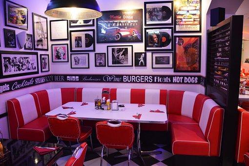 Corner Table, Restaurant, Cafe, American Diner, Table