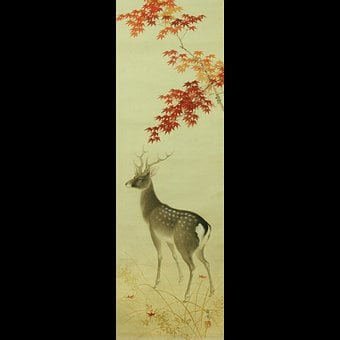 Japan, Japanese, Scroll, Deer, Stag, Asian, Antique