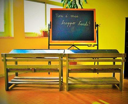 It's Never Too Late, School, Blackboard, Desks, Yellow