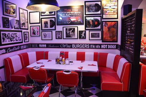 Corner Table, Restaurant, Cafe, American Diner, Table