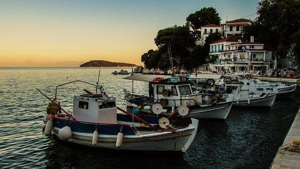 Greece, Skiathos, Chora, Sunset, Afternoon, Port, Boats