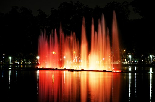 Ibirapuera Park, Lights, Night, Water Show, Color