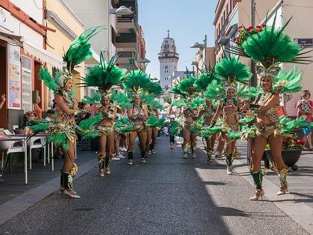 Carnival, Troupe, Dance, Costume, Female, Green