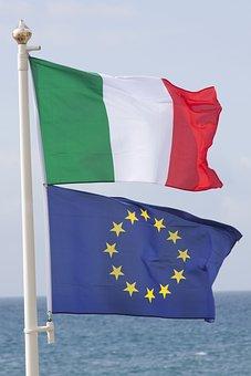 Flag, Italy, Green, White, Red, European Union, Blue