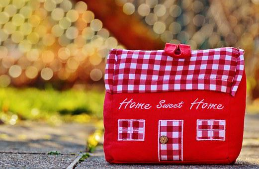 House, At Home, Fabric, Decoration, Doorstop, Red