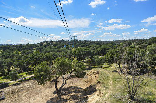 Teleferico, Cable Car, Madrid, Spain, Capital, Forest