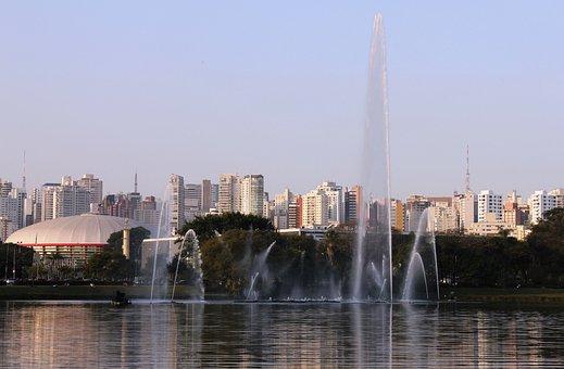 Lake, Ibirapuera Park, São Paulo, Fountain, Water
