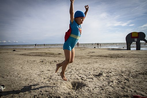 Superman, Beach, Jump, Child, Fun, Costume, Childhood