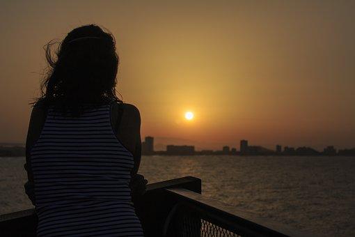 Setting Sun, Afternoon, Girl, Hair, Landscape, Sun