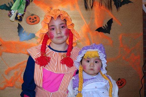 Hallowe'en, Girls, Costume, Children, Dress, People