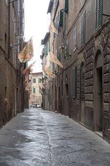 Alley, Middle Ages, Siena, Italy, Houses Gorge