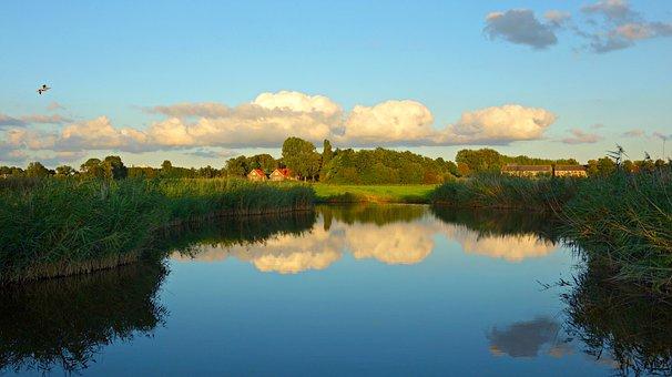 Landscape, Dutch Landscape, Waterway, Rushes, Houses
