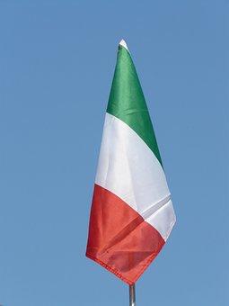 Flag, Italy, Sky, Green, White, Red, Blue, Italian Flag