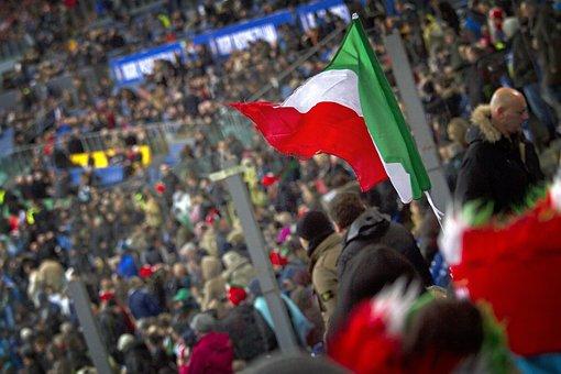 Italy, Fans, Crowd, Stadium, Tribune, Flag, Tricolor