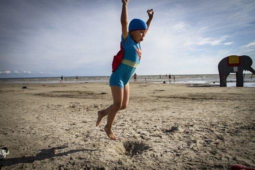 Superman, Beach, Jump, Child, Fun, Costume, Childhood
