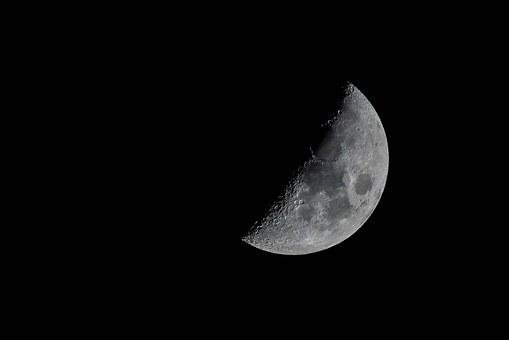 Moon, Crescent, Lunar, Craters, Surface, Telescope