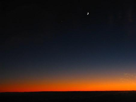 Sunrise, Above The Clouds, Moon, Morning Star, Morning