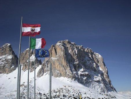 Dolomites, Flags, Landscape, Mountain, Europe, Alpine