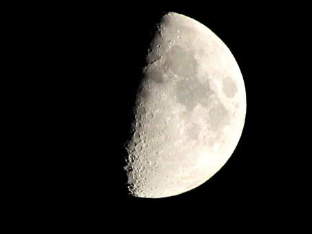 Moon, Crescent, Night, Crater, Close Up, Surface