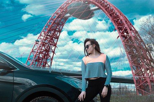 Photo Shoot Under The Scenic Bridge, Girl, Pants
