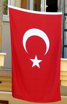Turkey, Flag, Turkish, Crescent, Star, Red, Sickle