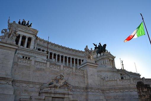 Vittoriano, Italy, Rome, Italian Flag, Italian, Palace