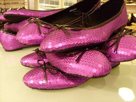 Shoe, Display, Purple, Sequins, Fashion, Style, Shop