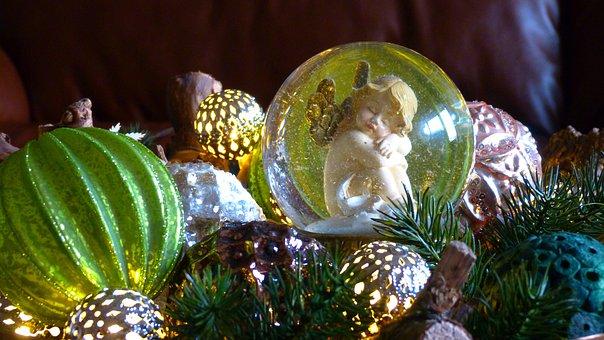 Angel, Wing, Gold, Decoration, Shine, Light, Glass Ball