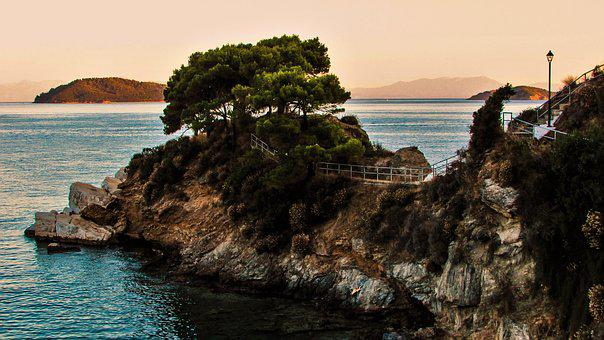 Greece, Skiathos, Plakes, Cape, Rock, Pines, Afternoon