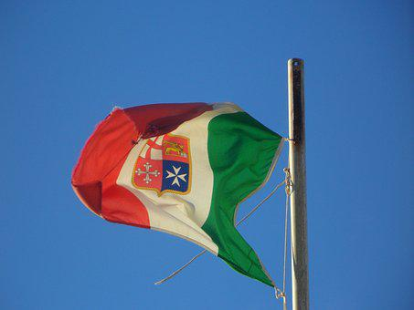 Flag, Blow, Sky, Blue, Blue Sky, Italian, Italy