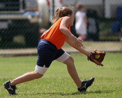 Softball, Player, Catch, Fielder, Female, Game