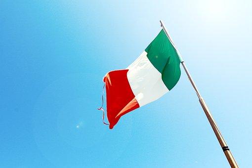 Italy, Italian, Flag, Blue, Sky, Sunshine