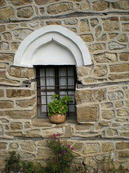 Arbanassi, Stone Wall, Windows, Potter Plant, Church