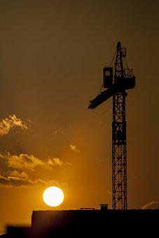 Crane, Construction, Load, Work, Sun, Industrial