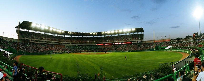 Baseball, Stadium, Playground, Baseball Field, Grass