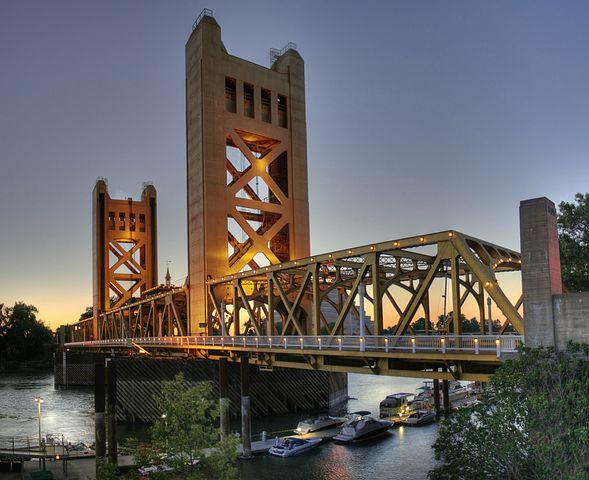 Bridge, River, Tower Bridge, Sacramento, California