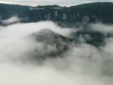 Fog, Landscape, Danube Valley, Vildštejn, Clouds