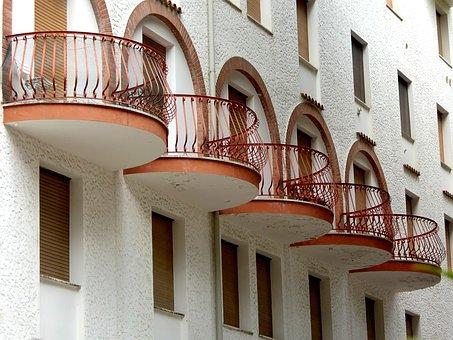 Balcony, Grid, Railing, Facade, Architecture, House