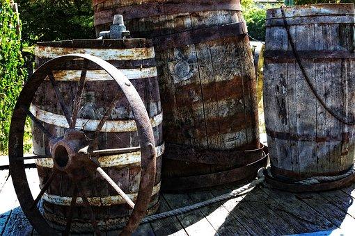 Old, Heritage, Wooden, Barrel, Metal, Tire, Ancient