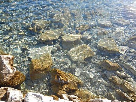 Lake, Water, Lake Walen, Stones, Nature, Surface