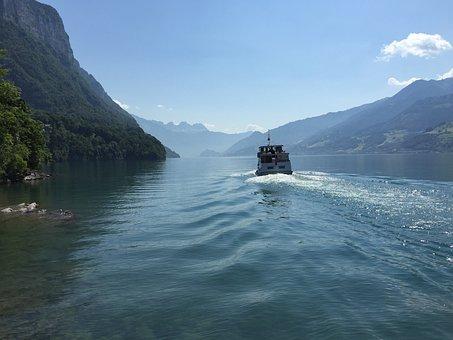 Ship, Water, Lake Walen, Lake, Mountains, Shipping