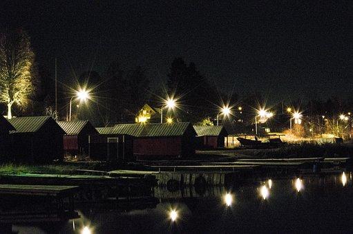 Boathouse, Darkness, Night, Light, Lighting, Evening